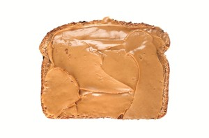 Slice of bread with peanut butter